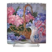 Pink And Blue Hydrangeas Shower Curtain