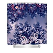 Pink And Blue Morning Frost Fractal Shower Curtain