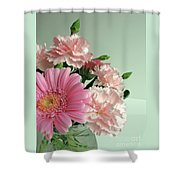 Pink And Green Floral Shower Curtain