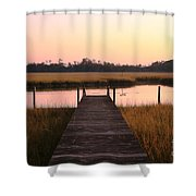 Pink And Orange Morning On The Marsh Shower Curtain