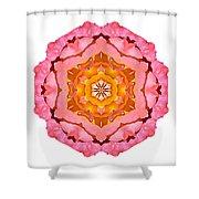 Pink And Orange Rose I Flower Mandala White Shower Curtain