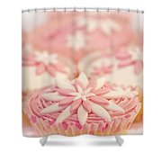 Pink And White Cup Cakes Shower Curtain