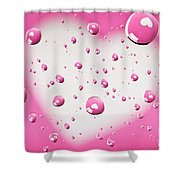 Pink And White Heart Reflections In Water Droplets Shower Curtain