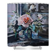 Pink And White Roses In Silver Mug Shower Curtain