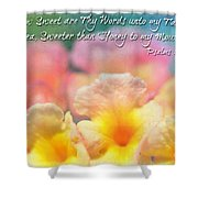 Pink And Yellow Lantana With Verse Shower Curtain by Debbie Portwood