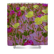 Pink And Yellow Tulips Pop Art Shower Curtain