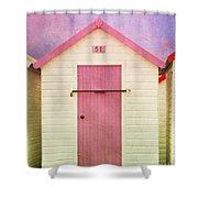 Pink Beach Hut Shower Curtain