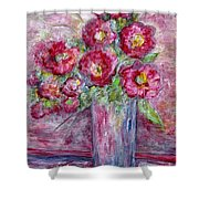 Pink Beauties In A Blue Crystal Vase Shower Curtain