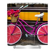 Pink Bike Shower Curtain