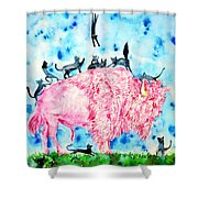 Pink Bison And Black Cats Shower Curtain