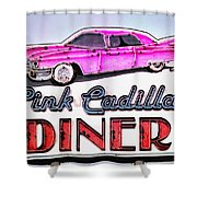 Pink Cadillac Diner Shower Curtain