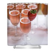 Pink Champagne And Strawberry Shower Curtain