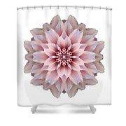 Pink Dahlia I Flower Mandala White Shower Curtain