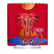 Pink Elephants Shower Curtain