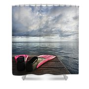 Pink Fins On Dock Shower Curtain