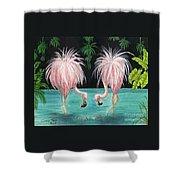 Pink Flamingo Booty Tropical Birds Art Cathy Peek Shower Curtain