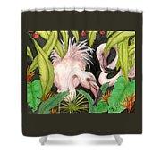 Pink Flamingos Jungle Cathy Peek Tropical Bird Art Shower Curtain