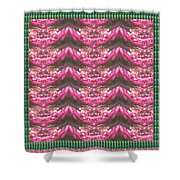 Pink Flower Petal Based Crystal Beads In Sync Wave Pattern Shower Curtain