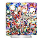 Pink Floyd Live Concert Watercolor Painting.1 Shower Curtain