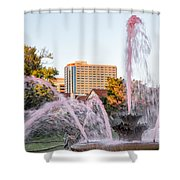 Pink Fountain For Breast Cancer Shower Curtain by Terri Morris