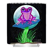 Pink Frog And Blue Moon Shower Curtain