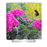 Pink Geraniums And Butterfly Shower Curtain