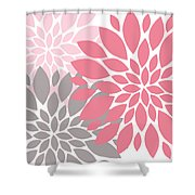 Pink Gray Peony Flowers Shower Curtain