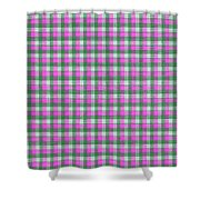 Pink Green And White Plaid Pattern Cloth Background Shower Curtain