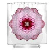 Pink Hibiscus I Flower Mandala White Shower Curtain
