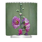 Pink Hollyhocks Shower Curtain