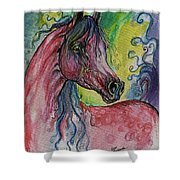 Pink Horse With Blue Mane Shower Curtain
