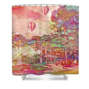 Pink Hot Air Balloons Abstract Nature Pastels - Dreamy Pastel Balloons Shower Curtain
