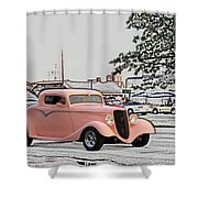 Pink Hot Rod Cruising Woodward Avenue Dream Cruise Selective Coloring Shower Curtain
