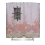 Pink House With Black Iron Shower Curtain