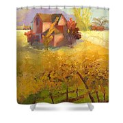 Pink House Yellow Field Shower Curtain