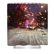 Pink Lights In Snowtrax Shower Curtain