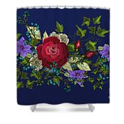 Pink Metallic Rose On Blue Shower Curtain