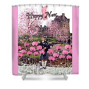 Pink New Year Greeting Shower Curtain