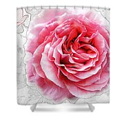 Pink On White Shower Curtain