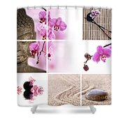 Pink Orchid And Buddha Collage Shower Curtain