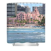 Pink Palace On Waikiki Beach Shower Curtain