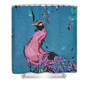Pink Peacock Full View Shower Curtain