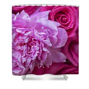 Pink Peonies And Pink Roses Shower Curtain