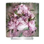 Pink Peonies Bouquet - Square Shower Curtain