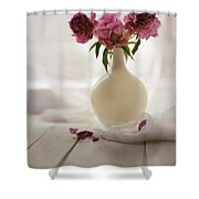 Pink Peonies In A Pot On The Wooden Table Shower Curtain