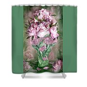 Pink Peonies In Peony Vase Shower Curtain