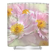 Pink Peony Flowers Parade Shower Curtain