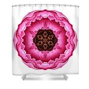 Pink Peony I Flower Mandala White Shower Curtain