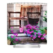 Pink Petunias And Watering Cans Shower Curtain