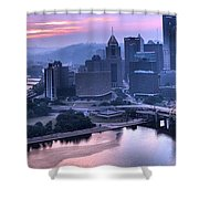 Pink Pittsburgh Morning Shower Curtain